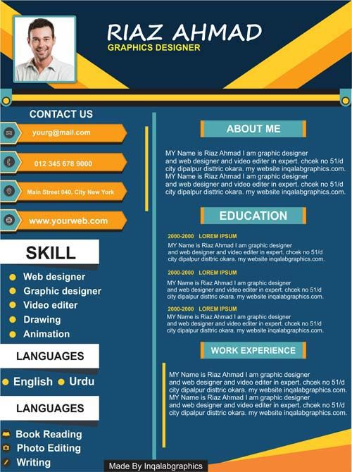 Template Cv Coreldraw : template, coreldraw, Resume, Design, Templates, Download, Graphic, Designer, CorelDraw, Kreatif,, Kreatif