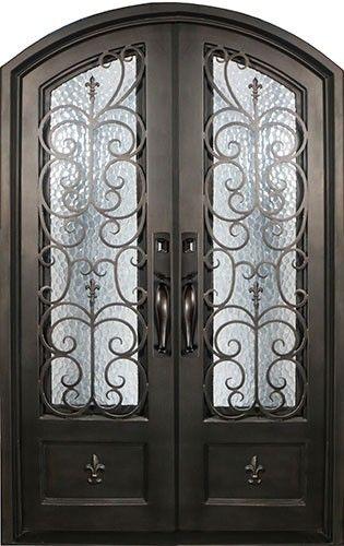 Fleur De Lis Wrought Iron Front Entry Double Door