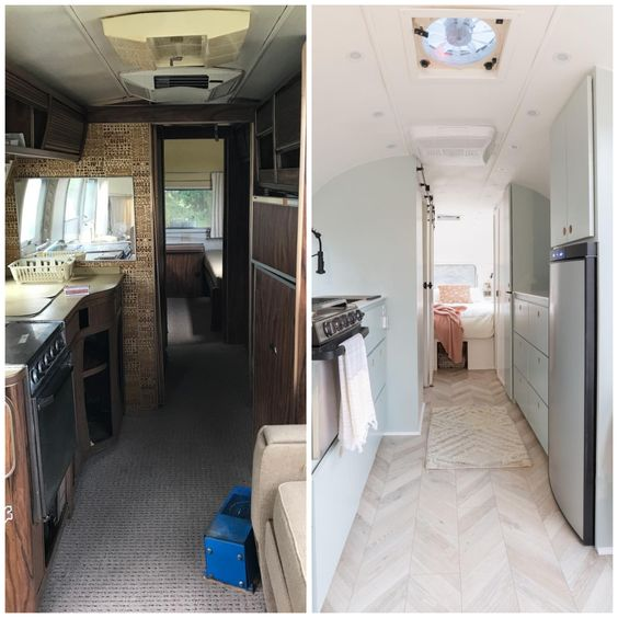 Wow What A Change Our Restoration Collection Palace Chevron Laminate Flooring In Color Stone Helps Create A Dramat Mountain Modern Camper Renovation Modern
