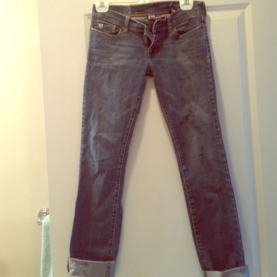 Distressed Abercrombie Jeans Abercrombie kids but fits like an adult zero. These have the distressed look. They are size stretch 16 slim in Abercrombie kids size. Abercrombie & Fitch Jeans