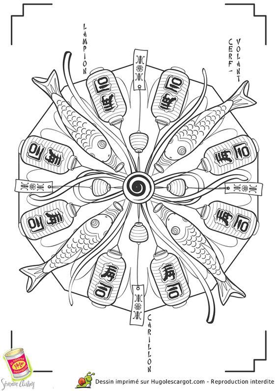 Mandala japon cerf volant page 3 sur 13 sur hugolescargot - Coloriage japon ...