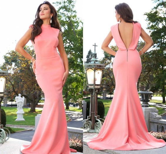 Find More Prom Dresses Information about Fast Delivery Cap Sleeve High Neck Low Back Sleevelss Coral Mermaid Evening Prom Dress Taffeta Natural Waist Long Prom Dresses,High Quality dresse,China dresses sexy Suppliers, Cheap dresses tall from Amanda's Dress House on Aliexpress.com