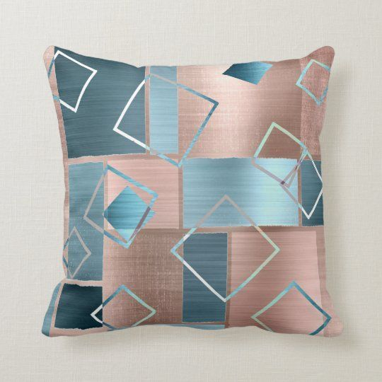 Luxe Abstract Blush Rose Gold And Teal Geometric Throw Pillow Zazzle Com In 2021 Geometric Throw Pillows Geometric Throws Throw Pillows