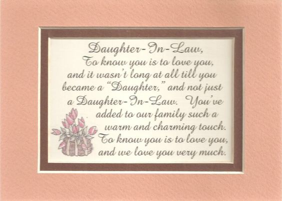 Wedding Anniversary Inspirational Poems Daughter Son In Law: Charm DAUGHTERs IN LAW Family LOVE Verses Poems Plaques