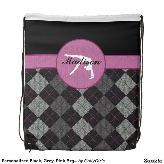 "Personalized Black, Grey, Pink Argyle Gymnastics Drawstring Backpack - Classy gymnastics drawstring backpack with a beautiful black, grey, and pink argyle backdrop. It has a gymnast silhouette inside of a pink circle. Add your own name before ordering! Additionally, use the ""customize it"" button for more options, including a different font!  ©gollygirls.com"
