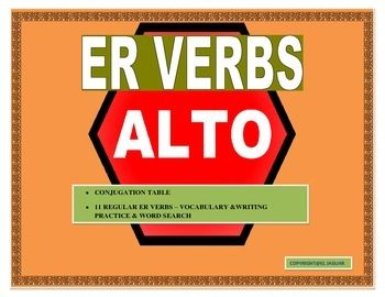 This interactive ER Verbs Unit is an incredible tool to teach your students how to conjugate ER verbs effectively.  It begins by providing  a vocabulary list of 11 high used ER verbs.  Included in the lists are verbs such as comer, beber and leer.  The Conjugation table is an amazing tool to teach students basic rules of conjugation.