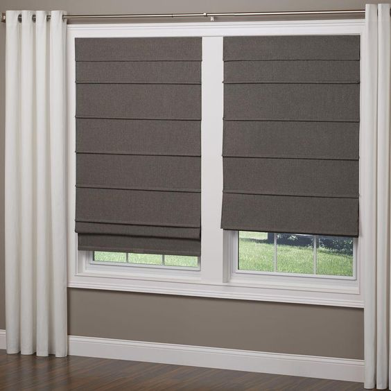 Elegant Home Fashions Frost Gray Cordless Room Darkening Fabric Roman Shade - 48 in. W x 64 in. L - RSND4864G - The Home Depot