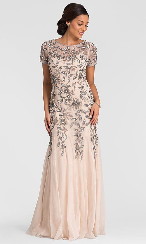 Long Taupe Mother Of The Bride Adrianna Papell Dress Mother Wedding Dress Long Mothers Dress Mother Of Groom Dresses