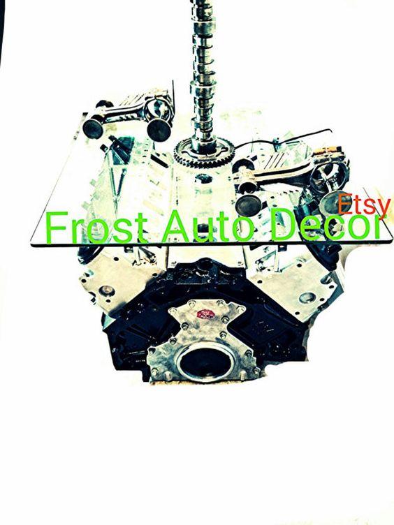 car part furniture Man Cave automotive decor engine table piston rods camshaft timing cover  gear clock gear head valve cover lamp LS Lamp camshaft LSX