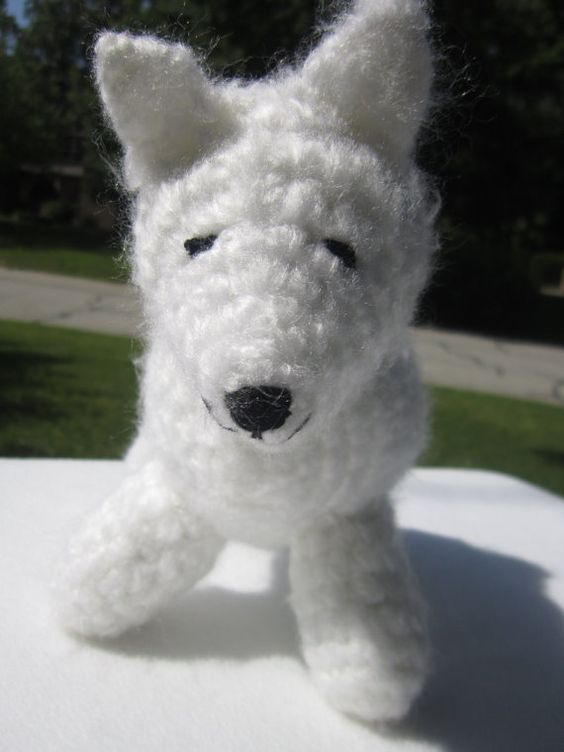 Amigurumi Dog Tail : Samoyed White Dog with a Curly Tail, Crochet Puppy Dog ...