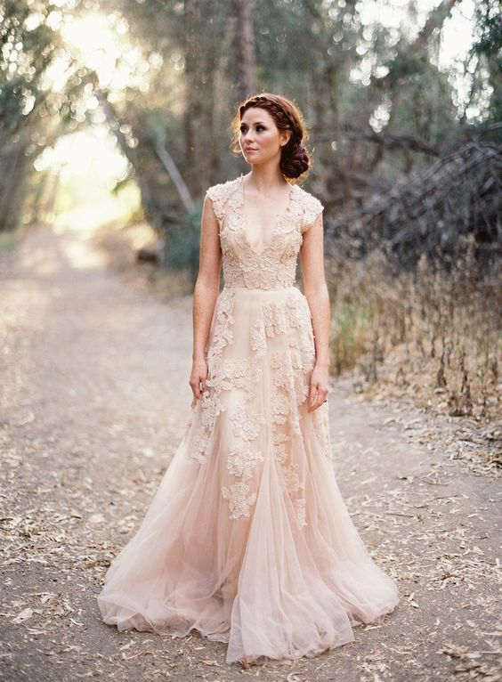 Soft blush wedding dress Photography: Jose Villa Photography - josevillaphoto.com