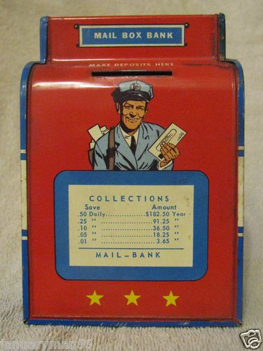 "1950's Ohio Art tin litho mailbox bank. The ""Collections"" table shows what daily savings amount to in a year."