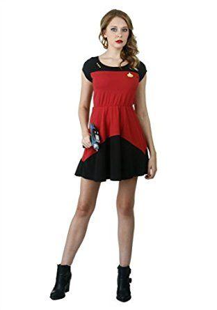 Amazon.com: Mighty Fine womens Star Trek Red Starfleet Skater Dress: Clothing