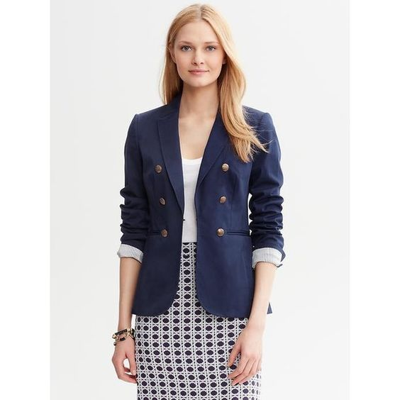 Banana Republic Faux Double Breasted Blazer - Fall navy ($80) ❤ liked on Polyvore featuring outerwear, jackets, blazers, blue jackets, navy blue jacket, military jacket, faux-leather jacket and double breasted blazer