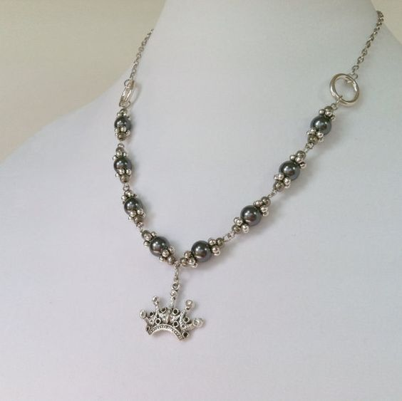 Crown Necklace with Dark Gray Pearls by janetpowers1 on Etsy, $22.00