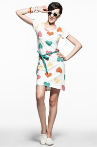 Image of [grhjr418000109]European Style Heart Graphic  Round Neckline  Dress