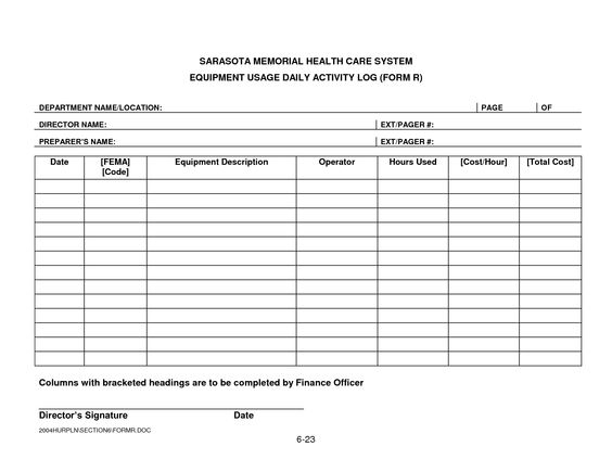 Security Daily Activity Log Template Smhcs Equipment