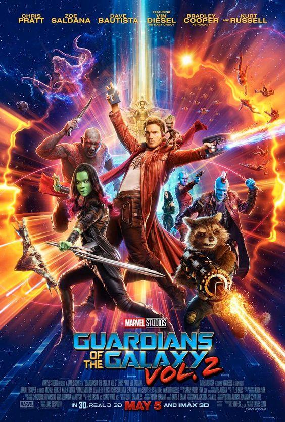 'Guardiões da Galáxia Vol. 2', Peter Quill (Chris Pratt), Gamora (Zoe Saldana), Rocket Racoon (voz..: