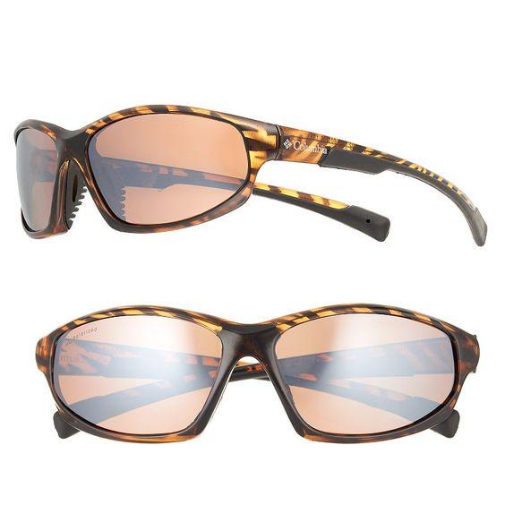 Men's Columbia Polarized Sport Wrap Sunglasses, Brown Oth