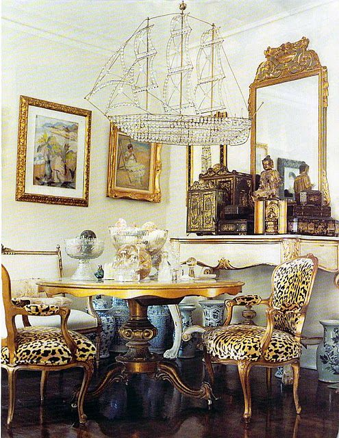 Leopard and Chinoiserie dining room.