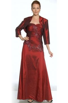 Fanciful A-line Taffeta Mother of the Bride Dress Holding Bolero and Sequined Appliques