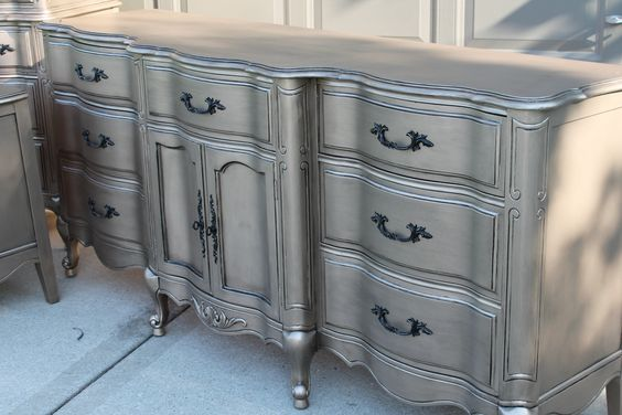Aged Warm Silver Metallic Paint on Furniture | Modern Masters | Project by The Magic Brush: