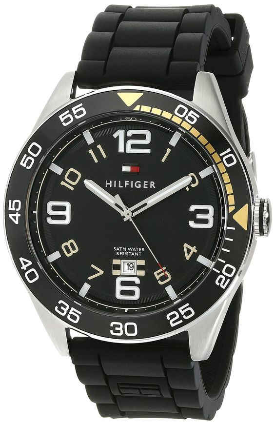 Tommy Hilfiger Men's 1790978 Cool Sport Aluminum Bezel and Black Dial Watch *** More info could be found at the image url.