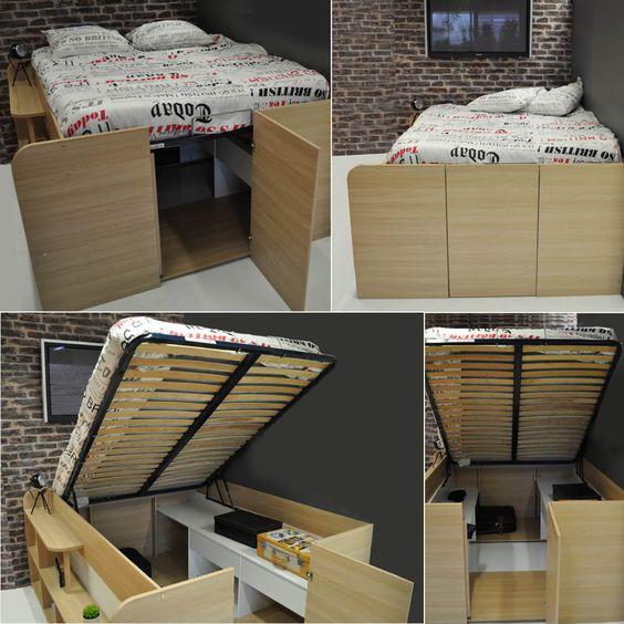 Lit coffre compact avec rangements STUDIO, Lit coffre compact avec rangements STUDIO sur Meubles And Co