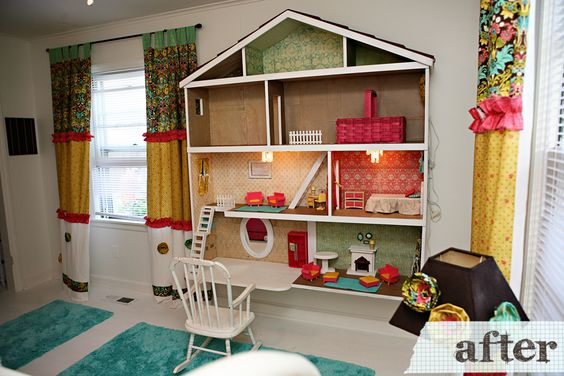 I love the curtains and the built in doll house i mean for Young house love dollhouse