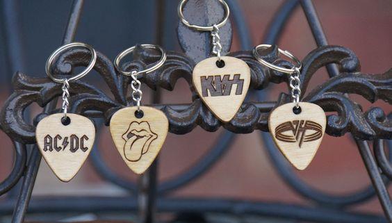 Classic Rock Guitar pick key chain