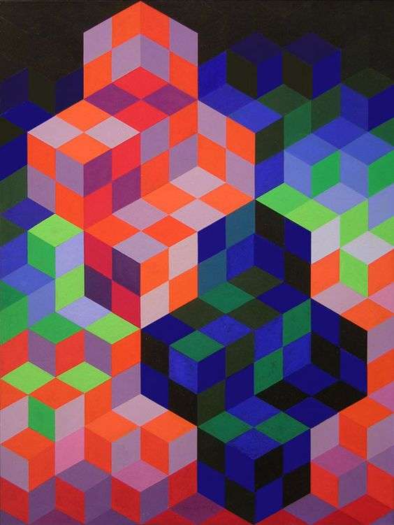 Vasarely Acrylic Gouache Signed, Duo-2, 1967:
