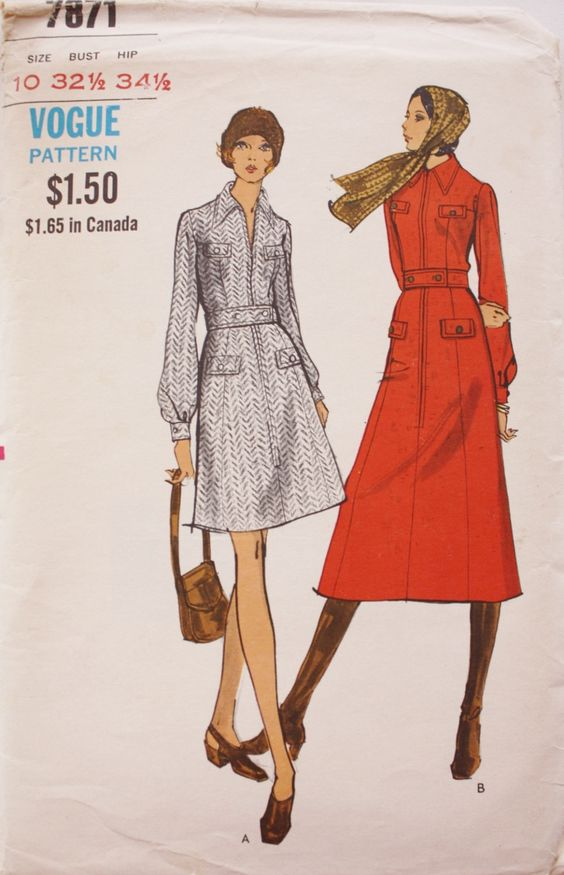 Vintage 70s Vogue 7871 Day Dress & Middy Dress Vintage Sewing Pattern Bust 32 by BluetreeSewingStudio on Etsy