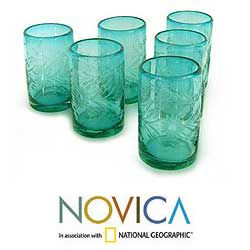 @Overstock - Add a bit of fanciful flair and garden-charm to your table with these hand-blown etched drinking glasses. This set of six beautiful, thick glasses is an eye-catching aquamarine color with a delicate etched pattern for added visual appeal.http://www.overstock.com/Worldstock-Fair-Trade/Set-of-6-Blown-Glass-Aquamarine-Flowers-Etched-Glasses-Mexico/5478381/product.html?CID=214117 $75.59