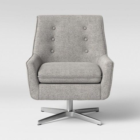 Gleason Swivel Button Back Arm Accent Chair With Metal Base