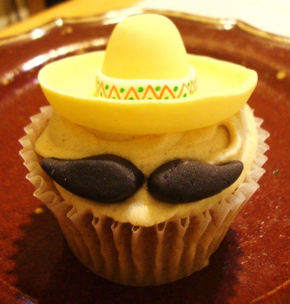 Sombrero with Mustache Cupcakes