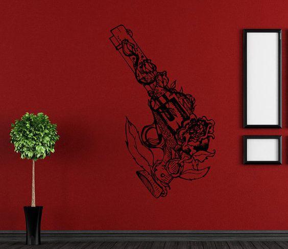 Wall Vinyl Sticker Decals Mural Room Design Pattern Art Decor Gun Rose Weapon Flower Nursery bo2181
