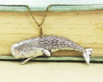 Sperm Whale Necklace. Antiqued Pewter and Antiqued Bronze Chain Necklace Pendant.