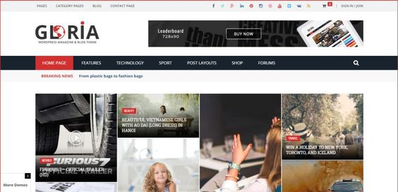 Gloria - Responsive Newspaper WordPress Theme