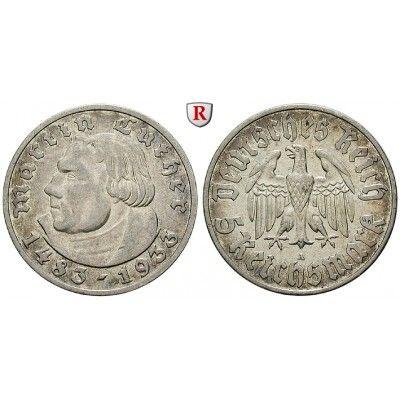 Drittes Reich, 5 Reichsmark 1933, Luther, A, ss-vz, J. 353: 5 Reichsmark 1933 A. Luther. J. 353; sehr schön - vorzüglich 120,00€ #coins