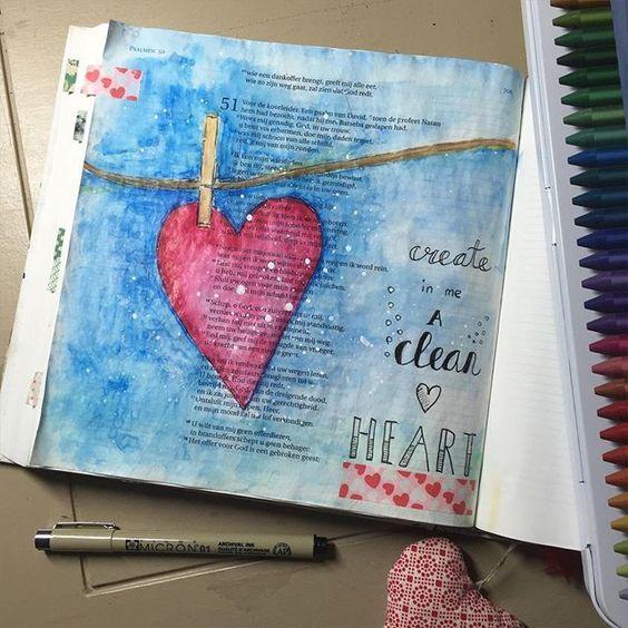 Psalm 51:3 Create in me a clean heart. Biblejournaling met mijn nieuwe neocolor 2 oliepastels😊 #biblejournaling #biblejournalingnl #bibleverse #illustratedfaith #craftbijbel #neocolor #neocolor2