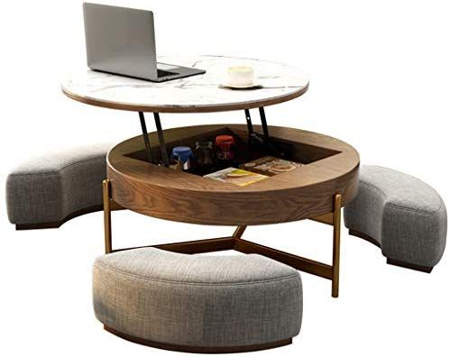 Amazon Com Creative Round Coffee Table And Liftable Desk