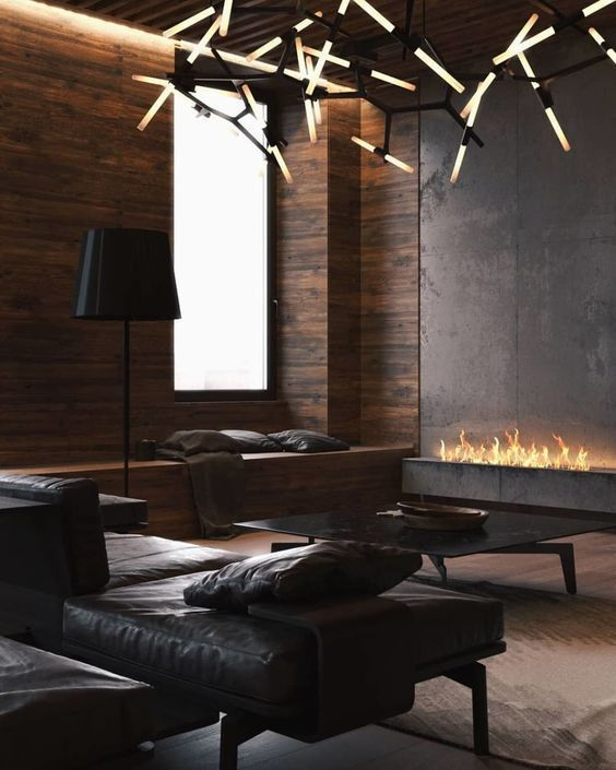 Contemporary Masculine Living Room With A Fireplace And Dark