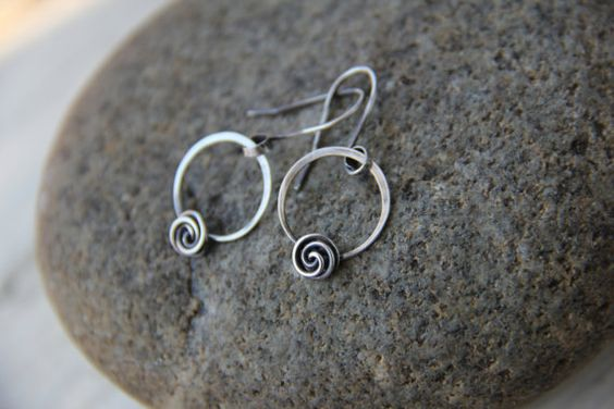 Rose bud knot minimalist sterling silver or copper round earrings, hoop and flower earrings, dainty earrings, petite earrings
