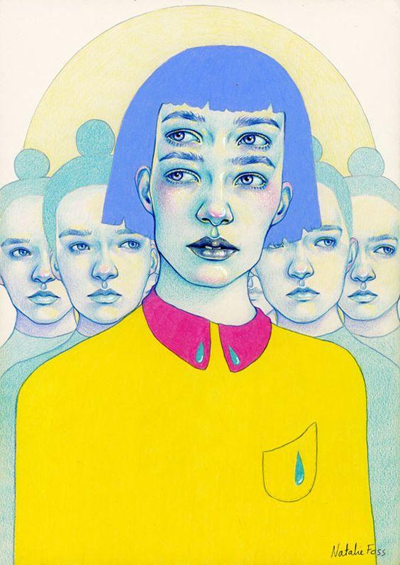 Natalie Foss menina com quatro olhos.