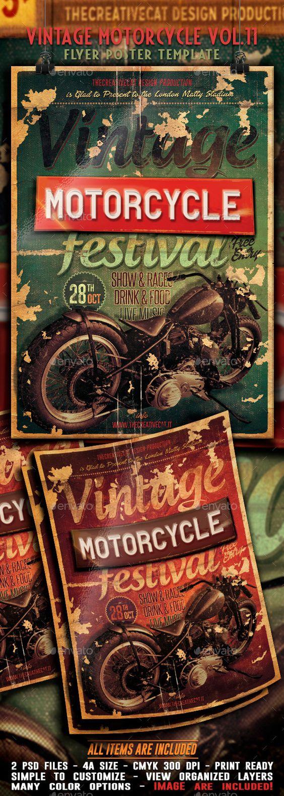 vintage motorcycle flyer poster template psd buy and download. Black Bedroom Furniture Sets. Home Design Ideas