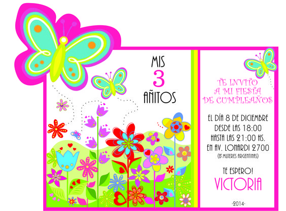 Tarjeta de invitaci n de cumplea os tem tica mariposas - Invitacion para cumpleanos ...