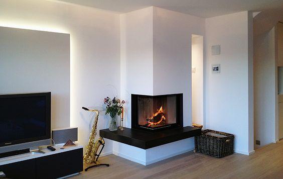 Umsetzung u2013 Eckkamine u2013 Galerie Harry Thiele - der Ofenarchitekt - wohnzimmer mit galerie modern