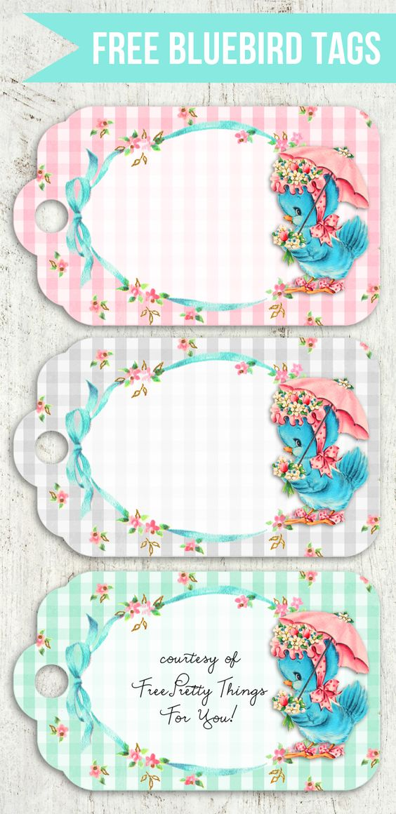 Free Vintage Shabby Chic Printable Bluebird Cards & Tags: