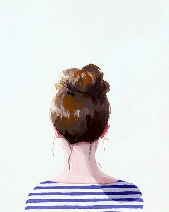 5x7 hair art  bun print  Top Knot 17 by ElizabethMayville: