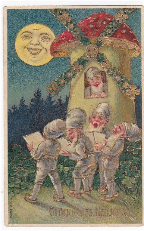 Vintage postcard, Gnomes Mushroom Windmill Happy New Year Embossed Postcard   eBay: